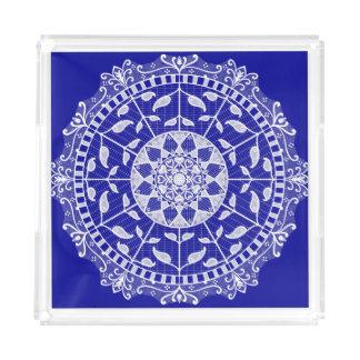 Sapphire Mandala Acrylic Tray
