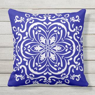 Sapphire Mandala Throw Pillow
