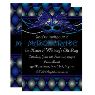 Sapphire Masquerade Party Invitations