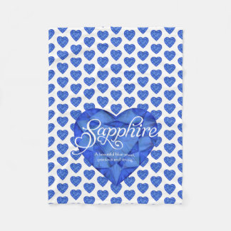 Sapphire name meaning watercolor heart gem blanket