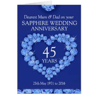Sapphire wedding anniversary mum and dad card