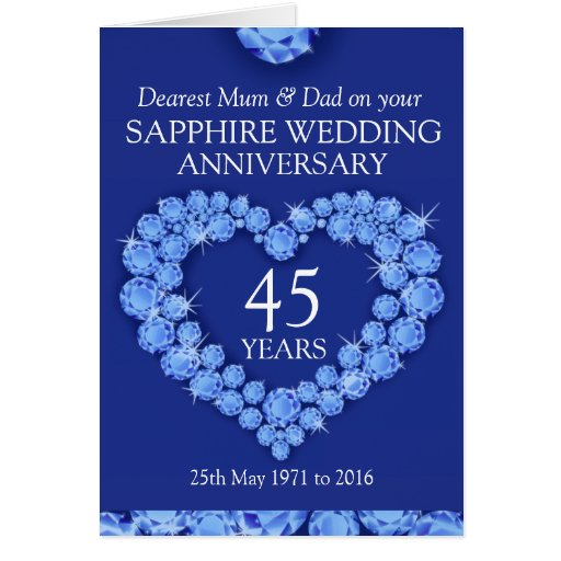 Sapphire wedding anniversary mum and dad card