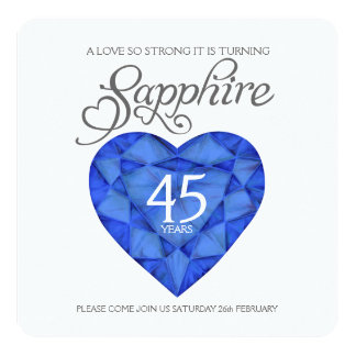 Sapphire wedding love so strong heart watercolor card