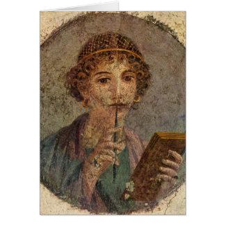 Sappho (Pompeii fresco) Card