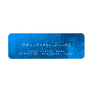 Sappphire Blue Glass Metal Return Address Labels