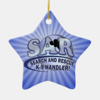 SAR SEARCH AND RESCUE K-9 HANDLER CERAMIC ORNAMENT