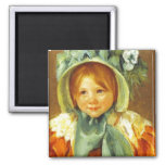 Sara in a Green Bonnet. c. 1901, Mary Cassatt Square Magnet