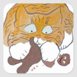 Sara, the Kitten, Gingerbread Crunch Square Stickers