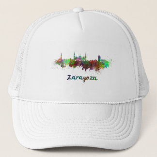 Saragossa skyline in watercolor trucker hat