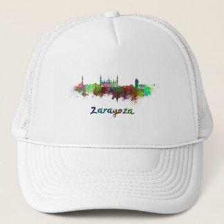 Saragossa skyline in watercolor trucker hat