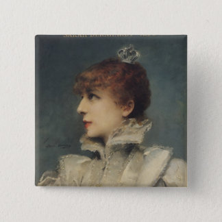 Sarah Bernhardt  1875 2 Inch Square Button