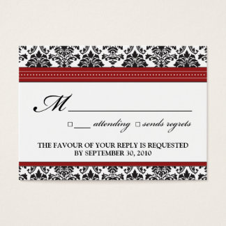 "::sarah:: Damask 3.5""x2.5"" Wedding RSVP Card"