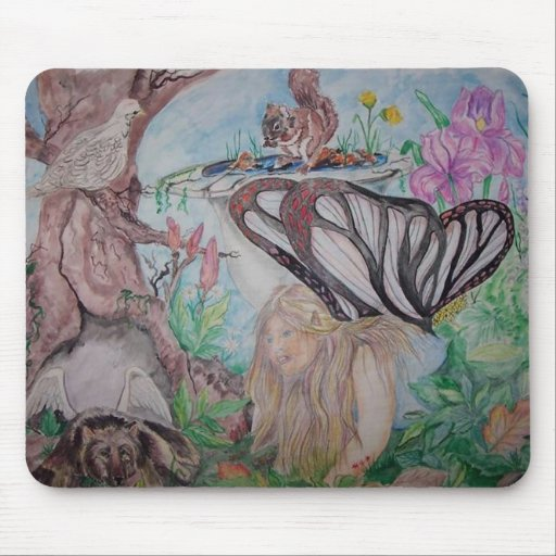 Sarah Fairy finds a fairy pup Mouse Pads