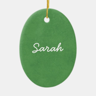 SARAH Grass Green Custom Name Gift Collection Ceramic Ornament