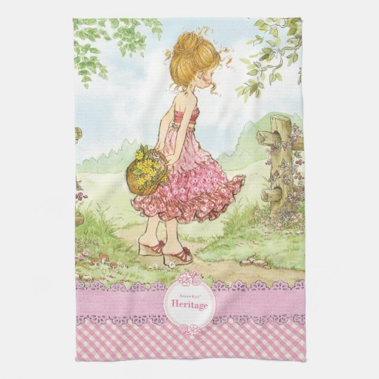 "Sarah Kay Heritage ""Walking"" Kitchen Towel Pink"