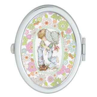 "Sarah Kay ""With Love"" Mint Oval Compact Mirror"