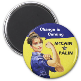 Sarah Palin - Change is  Coming 2 Inch Round Magnet