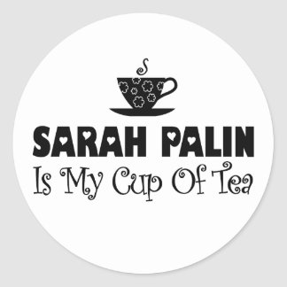 Sarah Palin Is My Cup Of Tea Round Stickers