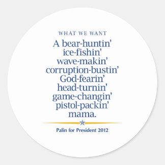 Sarah Palin Pistol packin' Mama Round Sticker
