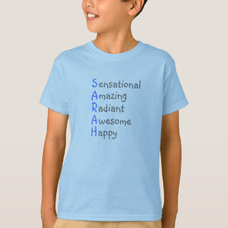 Sarah - Personalized Blue Acrostic with Virtues T-Shirt