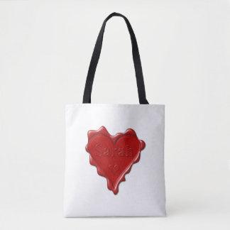 Sarah. Red heart wax seal with name Sarah Tote Bag
