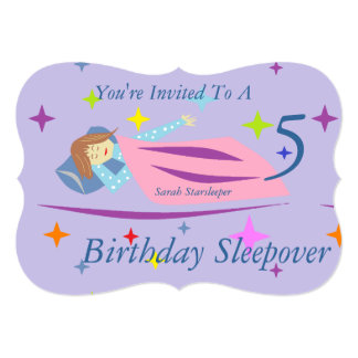 "Sarah Starsleeper Birthday Sleepover 5"" X 7"" Invitation Card"