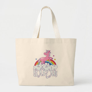 Sarah unicorn name large tote bag