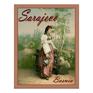 Sarajevo ~ Bosnia ~ Vintage Travel Poser. Poster