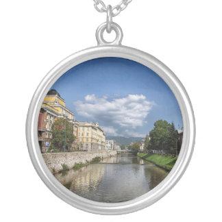 Sarajevo city, capital of Bosnia and Herzegovina Silver Plated Necklace