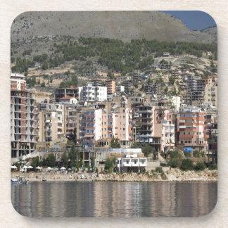 Sarande town in Albania Beverage Coasters