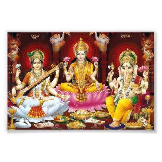 """Saraswati, Lakshmi, & Ganesha Print (6"""" x 4"""") Photo Art"""