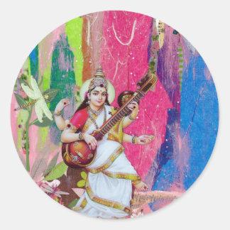 Saraswati Round Sticker