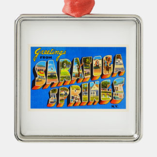 Saratoga Springs New York NY Old Travel Souvenir Metal Ornament