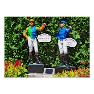 Saratoga's Iconic Traver's Stakes Lawn Jockeys Poster
