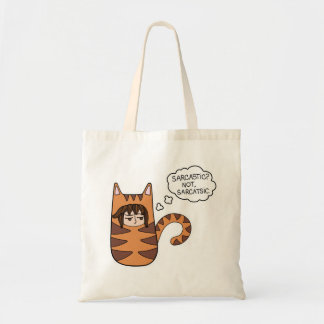 """Sarcastic? Not, Sarcatsic"" with Max, a male cat Tote Bag"