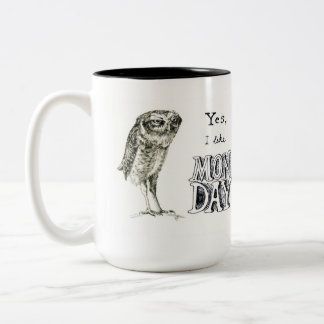 Sarcastic owl - right hand Two-Tone coffee mug
