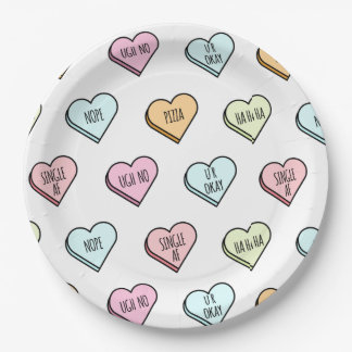 Sarcastic Valentine's Candy Heart Pattern Paper Plate