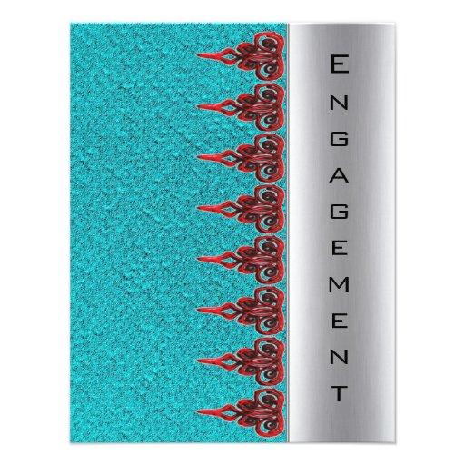 Sarcelle d'hiver bleue et invitation rouge de fian