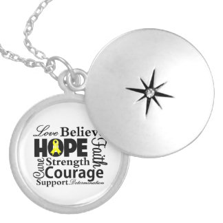Sarcoma Cancer Collage of Hope Round Locket Necklace