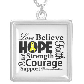Sarcoma Cancer Collage of Hope Square Pendant Necklace