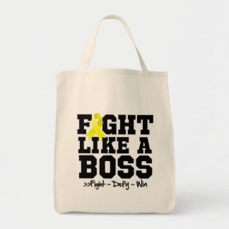 Sarcoma Cancer Fight Like a Boss Grocery Tote Bag