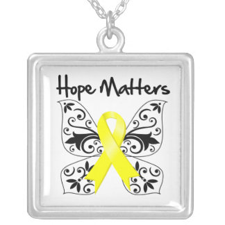 Sarcoma Cancer Hope Matters Square Pendant Necklace