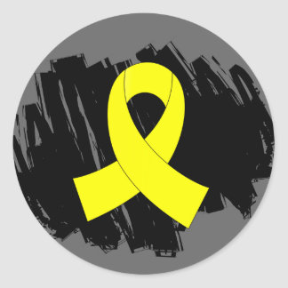 Sarcoma Yellow Ribbon With Scribble Classic Round Sticker