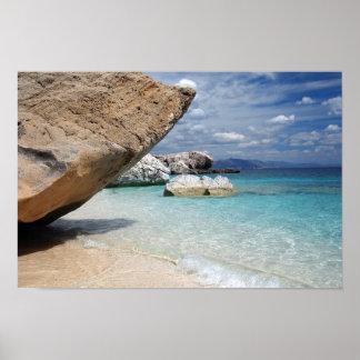 Sardinia beach with big rocks poster