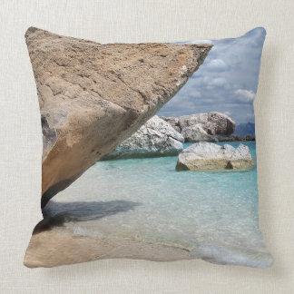 Sardinia beach with big rocks throw pillow