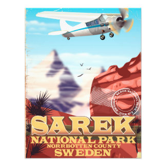Sarek National Park Sweden vintage travel poster
