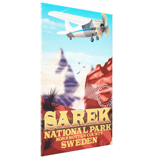 Sarek National Park Sweden vintage travel poster Canvas Print