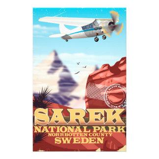Sarek National Park Sweden vintage travel poster Stationery
