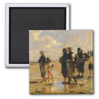 Sargent: Fishing for Oysters Square Magnet