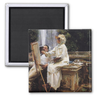 Sargent: The Fountain, Villa Torlonia, Frascati Square Magnet